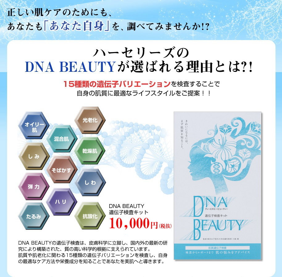 正しい肌ケアのためにも、あなたも「あなた自身」を、調べてみませんか!?肌質遺伝子検査